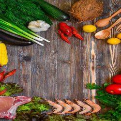 Régime alimentaire : fruits, légumes, crustacé, viande maigre...